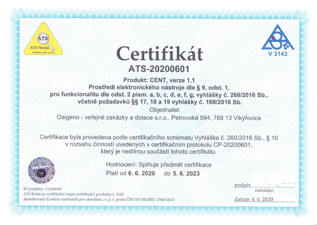 Certifikát - Prostředí elektronického nástroje CENT